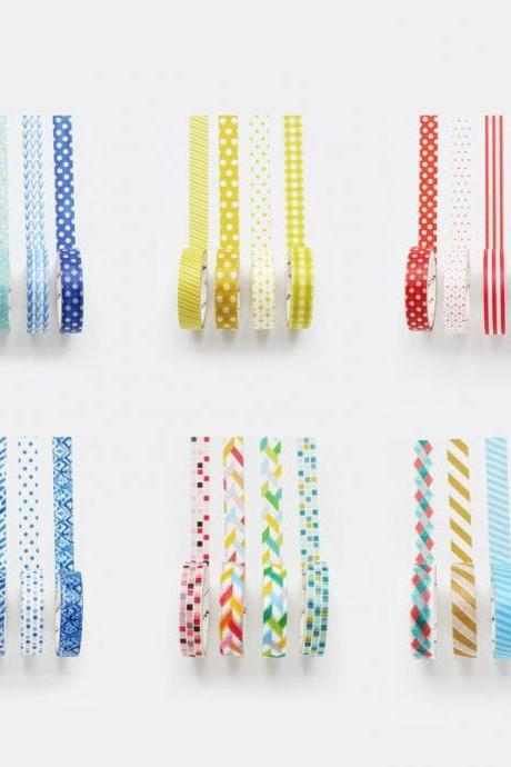 Colorful Washi Tapes Set of 4 | Masking Washi Tape Set | Masking Tapes Pack | Washi Tape Colors | Washi Tape Japan MT | Rainbow Masking Tape