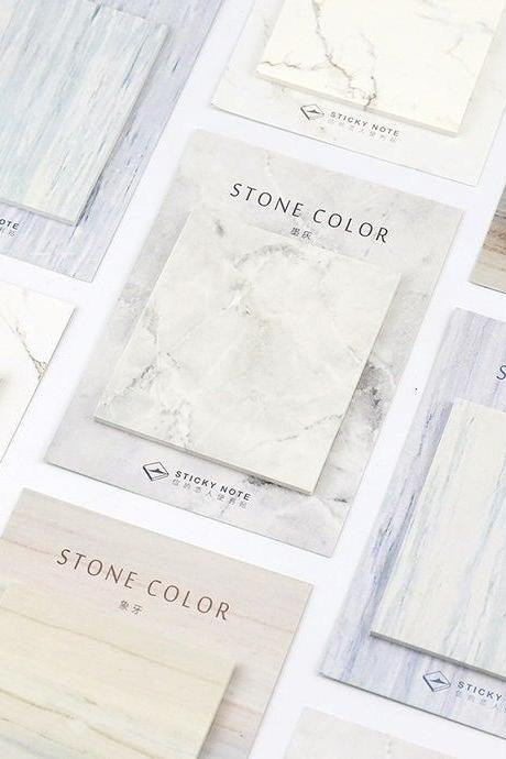 Marble Pattern Sticky Notes Memo | Marble Texture Memo Pad | Stone Memo Set | Rock Tile Sticky Memo Note | Crystal Memo Mineral Ore Stickies