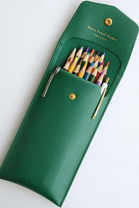 Extra Pocket Pencil Case - 6 Colors | Leather Pencil Case with Snap Button | Stationery Organizer | Pen Case | Stationery Pencils Case