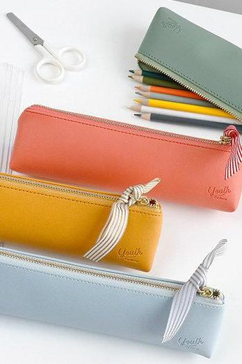 PU Leather Pencil Case - 8 Colors | Multi Purpose Pencil Case | Make-up Bag | Pens Case | Cosmetic Bag | Pencil Bag | Stationery Organiser |