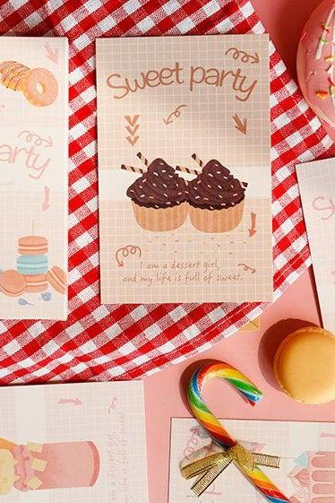Dessert Postcard Collection (30pc) | Realistic Food Post Cards Set | Hand Drawing Greeting Card | Foodie Post Card | Sweet Party Card Memo