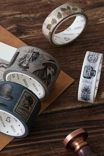 Old Times Washi Tape Collection XL 30mm | Vintage Clothing Masking Tape | Victoria Style Map Washi Tapes Set | Fashion Washi Masking Tape