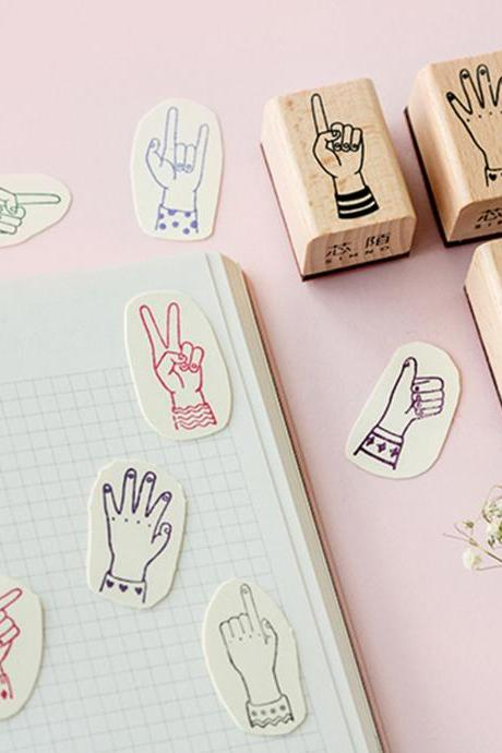Fingertip index Stamp Collection | Hand Stamp Icon | Emoji Stamp Rubber Seal | Wood Stamp | Yeah Stamp OK Stamp Fingers Drawing Stamp Paint