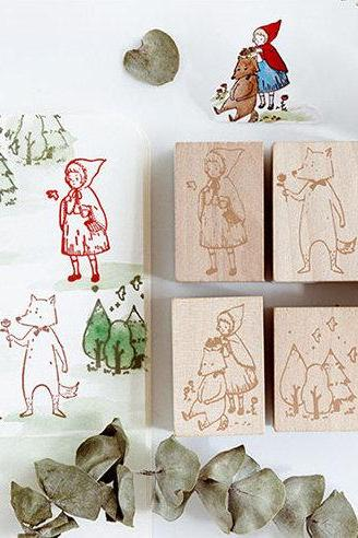 Little Red Riding Hood Stamp Collection | Fairy Tale Stamp Icon | Wooden Stamp Rubber Seal | Bed Time Story Stamp | Fox Stamp Forest Stamp |