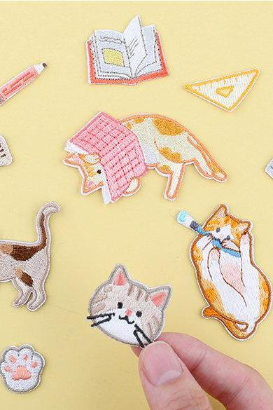 Cute Cat Embroidery Cloth Stickers Set | Meow Patch | Hand Decoration Stickers | Japanese Stickers | Icon Patch Cute | Patch Phone Sticker