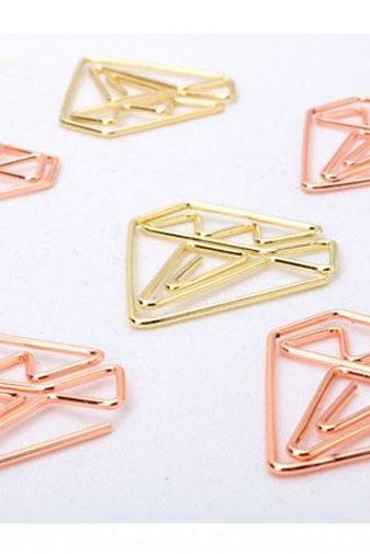 Rose Gold Diamond Paper Clips | Golden Diamond Paperclip | Funny Paper Clip | Japan Paper Clip | Unique Paper Clip| Shape Bookmark clip