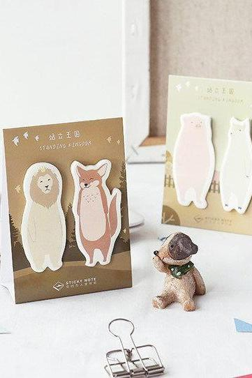Standing Animal Sticky Notes Set | Animals Memo Notes | Zoo Sticky Notes Bear | Animal Notepad | Penguin Memo Pad | Animal Stickies Fox