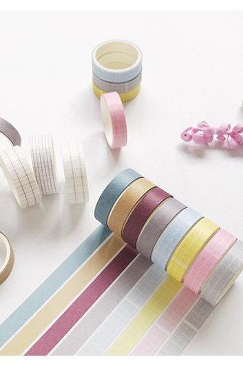 Simple Design Washi Tapes Pack of 4 | Masking Washi Tape Set | Colors Masking Tapes | Grid Washi Tape Japan MT | Solid Masking Tape Dark