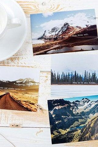Love in Mountain Postcards Collection (30pc) | Japan Mountain Post Card Set | Hand Drawing Garden Post cards Box | Snow Mountain Postcards |