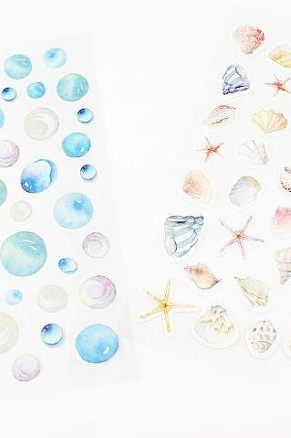 Seashell Stickers Set | Bubble Stickers | Blue Ocean Stickers | Beach Sticker | Marine Stickers | Sea Shell Stickers Collection