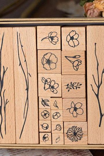 Eucalyptus Plant Stamp Collection Set | Flowers Stamp Icon | Herbs Wooden Stamp Rubber Seal | Vintage Nature Stamp | Retro Flower Stamps Set