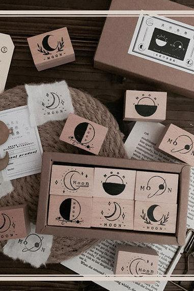 Moon Phase Wooden Stamp Set | Moon Stamp | Universe Stamp | Wood Rubber Seal | Space Stamp | Notebook Stamp | Travel Stamp | Planet Stamp