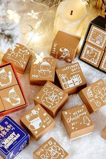 Christmas Series Stamp Collection | Christmas Gift Stamp Icon | Wooden Stamp Rubber Seal | Socks Stamp | Deers Stamp Holiday Greeting Stamp