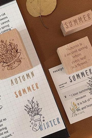 Four Season Stamp Collection | Flowers Stamp Icon | English Wooden Stamp Rubber Seal | Vintage Nature Stamp | Retro Flower Plant Stamps Set