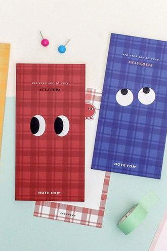 Big Eyes Color Memo Pad Collection | Colorful Memo Notepad | Pattern Sticky Note Pack | Red Blue Color Sticky Notes | Yellow Color Memo Note