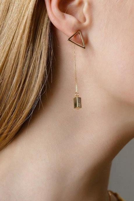 Triangle Dangle Earrings | Handmade Earrings | Gold Drop Earring Jacket | Simple Ear Jacket | Minimalism Earrings | Gold Earrings Design