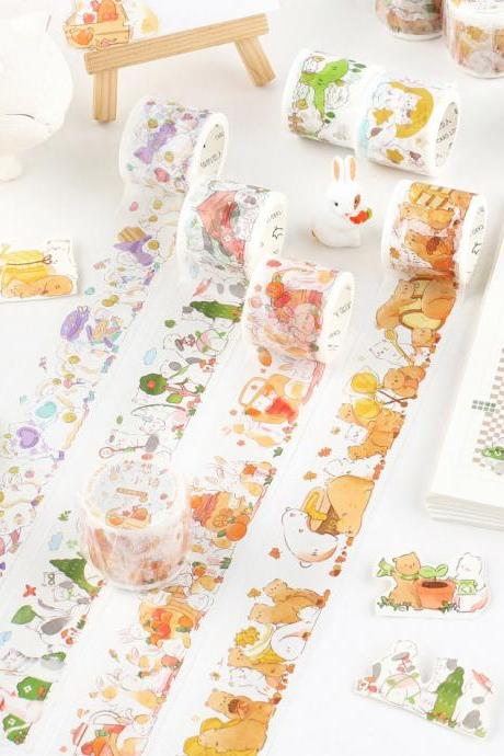 Dream Town Cartoon Washi Tape Collection | Cute Animals Washi Masking Tapes | Hand Drawing Masking Tapes Draw | Sheep Bear Cats Washi Tape |