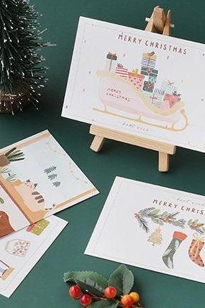 Christmas Best Wish Postcards Collection (30pc) | Merry Christmas Post Card Set | Hand Drawing Deer Sock Post cards Box | X' mas Postcards |