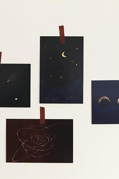 Galaxy Romantic Postcard Collection (30pc) | Gallery Design PostCards | Hand Drawing Moon Sky Greeting Card | Artistic Decoration Postcard |
