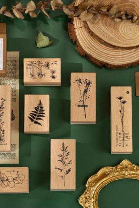 Cotton Tree Eucalyptus Stamp Collection | Flowers Stamp Icon | Herbs Wooden Stamp Rubber Seal | Vintage Nature Stamp | Retro Flower Stamps