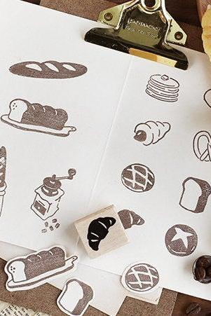 Bakery Wooden Stamp Set | Bread Stamp | Croissant Stamp | Wood Rubber Seal | Baguette Stamp | Notebook Stamp | Vintage Bakery & Coffee Stamp