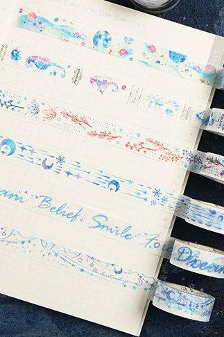 Ocean Washi Tape Collection | Sea Horse Washi Masking Tapes | Whale Washi Tape Set | Ocean Masking Tape Bubble| Sea Washi Tape Water Color