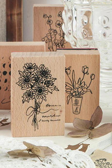Fragrant Flowers Stamp Collection | Green Plants Stamp Icon | Herbs Wooden Stamp Rubber Seal | Moon Phase Stamp | Retro Flower Stamps Set
