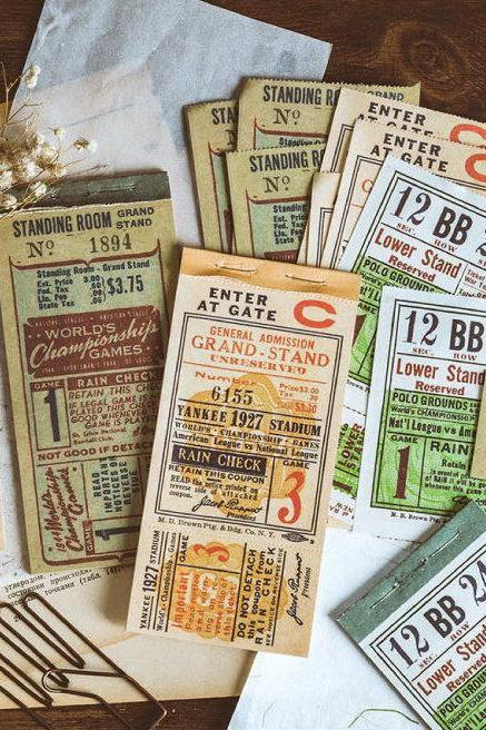 Antique Bill Memo Pad Collection | Mail Stamp Memo Notepad | Ice Coupon Sticky Notes Pack | Pharmacy Sticky Notes | Train Ticket Memo Note