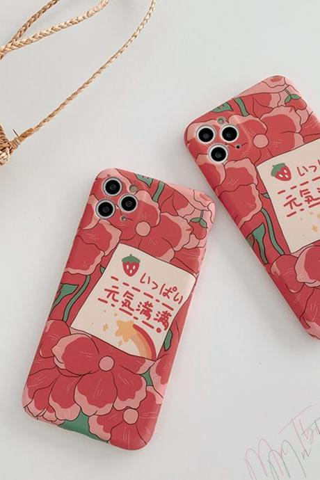 Japanese Style 'Full of Vitality' iPhone case cover | Red Flowers Drawing Silicone iPhone case for 7 8 Plus X XR XS Max 11 Pro Max