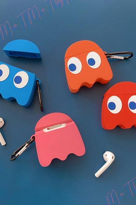 Pac-Man Silicone Keychain Apple Airpods 1 and 2 case | Namco Cartoon Pac-Man Games Airpods case