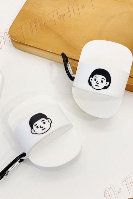 Boy and Girl Logo Couple Slippers Keychain AirPods 1&2 case | Unique Fashion Airpods Gift for Couple | Black and White Style Airpods case