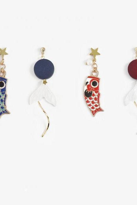 Japanese Koi Fish Earrings | Koi Fish Flag Dangle Earrings | Cute Koi Fish | Handmade Earrings | Easter Earrings | Mother's Day |Simple Drop