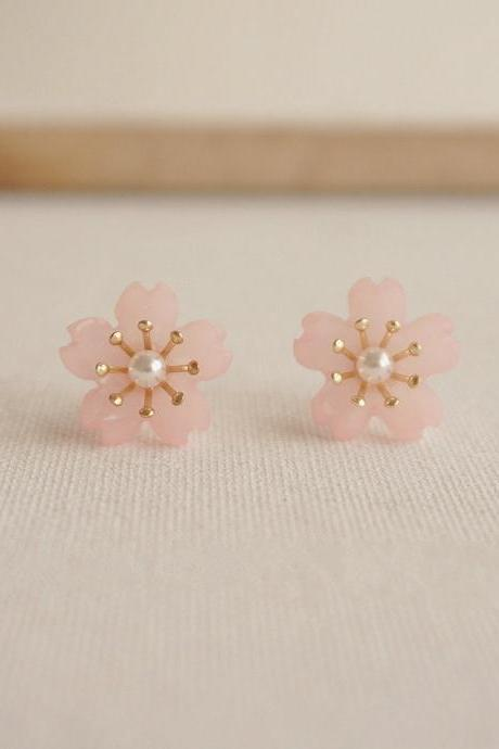 Japanese Sakura Earrings | Sakura Pearl Earrings | Sakura Jewelry | Cute Earrings | Simple Stud Earrings| Flower Earrings | Pink Earrings
