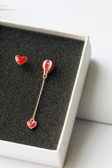 Cute Red Heart Balloon Earrings | Air Balloon Earrings | Japanese Cute Earrings | Handmade Balloon Earrings | Red Heart Drop Earrings