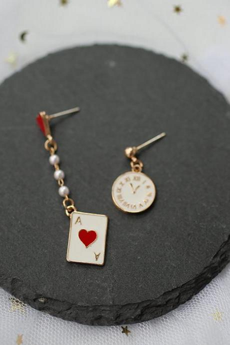 Alice In Wonderland Earrings | Red Heart Ace Earrings | Japanese Earrings | Cute Earrings | Playing Card Earrings | Clip On Earrings