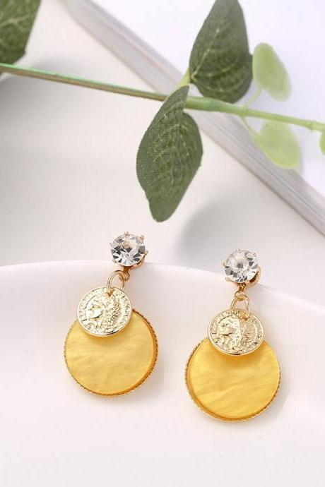Gold Coin Geometric Earrings | Greek Coin Earrings | Coin Earrings | Disc earrings | Vintage Coin Earrings | Korean Style Earring