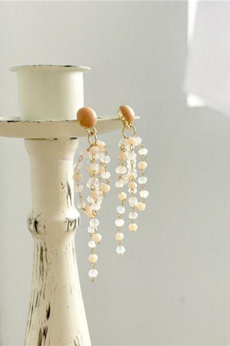 Earrings with crystal beads | Clear bead dangle earrings | Bead tassel drop earrings | Korean style earrings