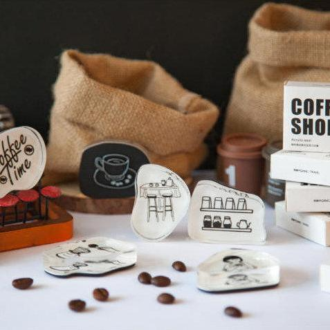 Coffee Shop Acrylic Stamp Set Collection | Cafe stamp chop | Coffee Bean Wood Rubber Seal | Scrapbook stamp | Notebook Stamp | Stylish stamp