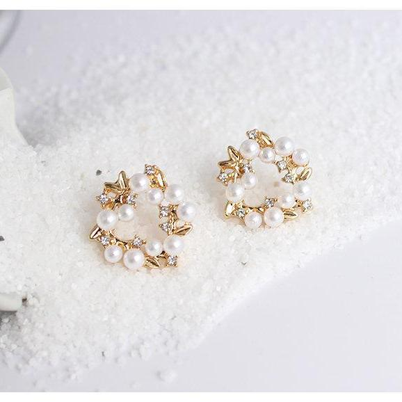 Wreath Earrings | Flower Earrings | Pearl Flower Earrings | Gardenia Earrings | Korean Simple Earrings | Classic Earrings | Stud Earrings